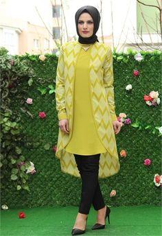 Öz Şirin Biyeli Tunik-Yağ Yeşili-5041 Muslim Fashion, Modest Fashion, Hijab Fashion, Women's Fashion, Dress Outfits, Casual Outfits, Tunics, Blouses, Hijab Style