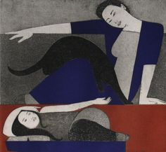 Will Barnet: The Blue Robe, 1971 - Etching and Aquatint on Arches Paper (Portland Museum of Art)