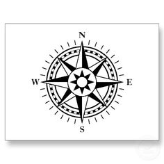 Black and white compass rose postcard