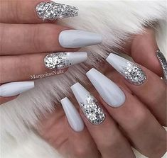 23 Beautiful Nail Art Designs for Coffin Nails: We have found 23 beautiful nail art designs for coffin nails. There is something for everyone, from vibrant colors to manicures that are subtle and elegant. 43 Beautiful Nail Art Designs for Coffin Nails Cute Acrylic Nails, Cute Nails, Pretty Nails, White Acrylic Nails With Glitter, Silver Glitter Nails, Acrylic Nails Coffin Glitter, White Sparkle Nails, Acrylic Nail Designs Coffin, Wedding Acrylic Nails