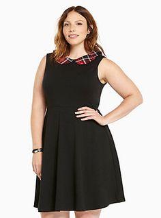 Plus Size Plaid Peter Pan Collar Skater Dress, DEEP BLACK