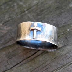20% Off Today - Code Love20 - Old Rugged Cross sterling silver cross ring  Unisex christian ring. $58.80, via Etsy.