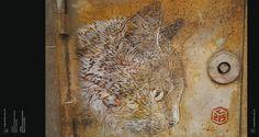 cat stencil/graffiti by French street artist C215