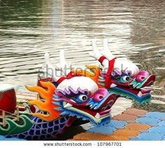 KAOHSIUNG, TAIWAN - JUNE Traditional barges with dragon heads are being prepared for the 2012 Dragon Boat Races on the Love River on June 2012 in Kaohsiung, Taiwan. Taiwan, Japanese Temple, Free High Resolution Photos, Dragon Boat, Stock Foto, Vector Clipart, Bowser, Illustrators, Fine Art America