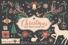Are you ready for Christmas?  You can create greeting cards, invitations, blog design, and more!  Christmas collection by kite-kit on @creativemarket