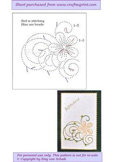 ED104 Floral on Craftsuprint designed by Emy van Schaik - Stitching with beads - Now available for download!