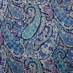LIBERTY Of LONDON Tana Lawn Cotton Fabric  'Bourton' Blue Paisley