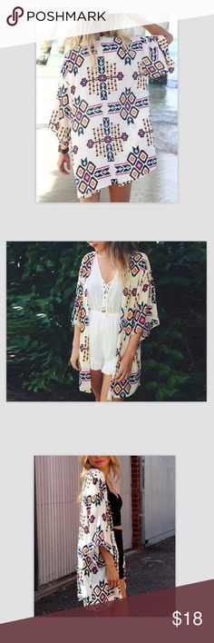 Loose Chiffon Kimono Beach Cover up S,M,L,XL available.so comfy and light.check the last photo for all measurements Swim Coverups