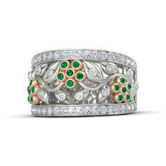 14K White Gold Ring with Emerald & Diamond - Daisy Chain Ring | Gemvara