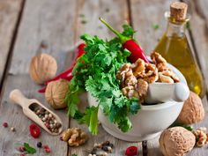 The sharp tang of cilantro mixed with the satisfying depth and complexity of walnuts makes for a delicious twist on the more traditional basil/pine nut pesto.
