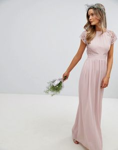 Buy TFNC Maxi Bridesmaid Dress with Scalloped Lace and Open Back at ASOS. Get the latest trends with ASOS now. Asos Bridesmaid Dress, Blush Pink Bridesmaid Dresses, Bridesmaid Dresses With Sleeves, Lace Bridesmaids, Wedding Dresses, Pink Dresses, Blush Pink Maxi Dress, Bridesmaid Ideas, Bridal Gowns