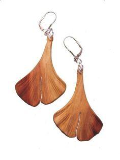 Damen-Ohrringe Ginkgo - Blatt (Pflaumenholz)