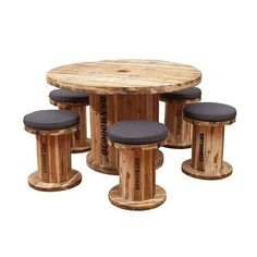 All Time Best Wood Working Videos Ideas Earth de Fleur Homewares - BOB Senior Spindle Table & Chair Outdoor Dining Patio Setting Recycled Furniture Wooden Spool Tables, Cable Spool Tables, Cable Reel Table, Wooden Cable Reel, Wooden Cable Spools, Recycled Furniture, Rustic Furniture, Garden Furniture, Outdoor Furniture