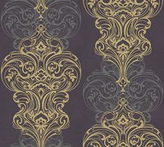 Classico Aubergine by Kandola - Aubergine / Silver / Gold - Wallpaper : Wallpaper Direct