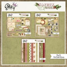 Joyeux Noel is the perfect vintage Christmas collection. It's got a beautiful combination of burlap, old world Santas and holiday charm.  Great for Christmas cards, tags or your holiday pages.