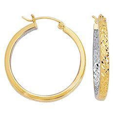 10K 2 Tone Yellow And White Diamond Cut Texture Round Hoop Earrings - JewelryAffairs  - 1
