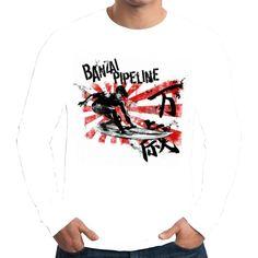 Velocitee Mens Long Sleeve T Shirt Banzai Pipeline Surfing Hippie Dude W13625 #Velocitee