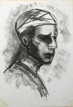 Charcoal sketch, drawing, portrait, hospital. Dmitry Serebryanskii.