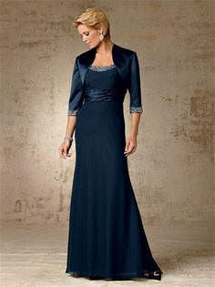 mother of the bride vintage   Vintage long navy blue beaded chiffon mother of the bride dress with ...