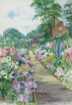 1940's watercolour garden