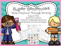 Super Sentences - Practicing Skills Through Writing! Enter for your chance to win. Super Sentences - Practicing Skills Through Writing  (65 pages) from The Honey Pot on TeachersNotebook.com (Ends on on 03-24-2016) Engaging writing that covers a variety of skills including punctuation, parts of speech, subject/predicate and more! Can be used as a writing center, independent practice for specific skills, or activity for early finishers..