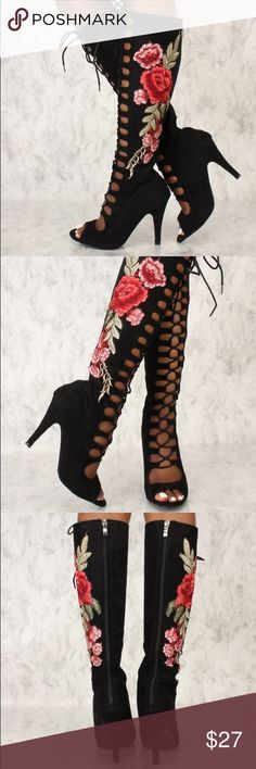 Floral Heel Boots Front lace up floral mid calf boots. Features faux suede texture, front lace up, peep toe, floral panel detail, back zipper closure. Approximately 4 1/2 inch heel. Shoes Heeled Boots