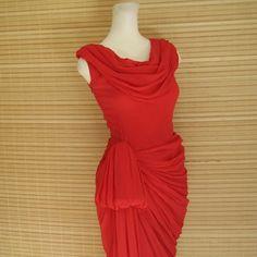 vintage 50s red silk chiffon evening gown - grecian goddess