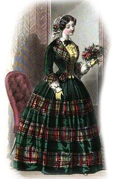 1840s Plaid Christmas Dickens Dress