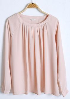 Pink Long Sleeve Pleated Loose Chiffon Blouse