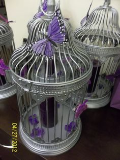 Pre-Wedding Sale Maryland, DC, VA :  wedding butterfly butteflies purple lavender silver birdcages pomander diy reception Butterfly Cage