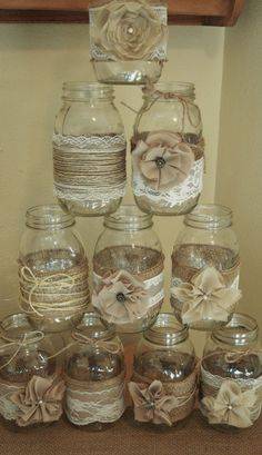 Set of 10 Mason Jar Sleeves, Burlap Wedding Decorations, Rustic Wedding Centerpieces, Burlap and Lace Wedding Jars by RusticWithElegance on Etsy https://www.etsy.com/listing/247212267/set-of-10-mason-jar-sleeves-burlap