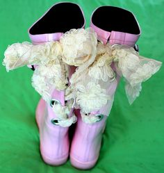Snaz up some rain boots, with extra large eyelets & ribbon!