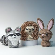 pattern - crochet - backyard critters 3 - bunny, hedgehog, raccoon - amigurumi - pdf