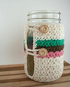 Crochet Mason Jar Cozy Quart Mason Jar Cozy Wide by KnotaGeek