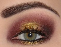 The Queen of hearts will have burgundy, maroon, and gold eye makeup to finish off her look. It shows in all seriousness and her deathly ways with the maroon but her beauty with the gold. Makeup Tips, Beauty Makeup, Hair Makeup, Makeup Ideas, Beauty Tips, Fun Makeup, Awesome Makeup, Eyebrow Makeup, Beauty Ideas
