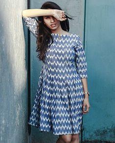 Cotton Dress Indian, Casual Cotton Dress, Indian Skirt, Indian Dresses, Kalamkari Dresses, Ikkat Dresses, Cotton Frocks, Cotton Gowns, Casual Frocks