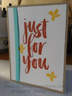 Thank You/Birthday Card with Botanicals for You stamp set. All supplies Stampin' Up! Hop over to my blog for a complete supply list. https://joyfullyinked.wordpress.com/2016/01/05/just-for-you-sale-a-bration/