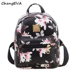 50d0e07cc925 Kemilove Women Girls Floral Printing PU Leather Shoulder Bag Backpack  (Black) - Flower backpack Floral Shoulder bag Candy color Shoulder bag x x  x x
