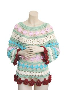 Colored Blouses Bamboo yarnsummer tunic hand crochet shirt by fone, $95.00