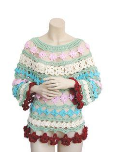 Colored Blouses Bamboo yarnsummer tunic hand crochet shirt by fone, $95.00
