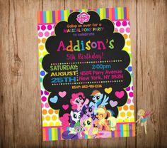 My Little Pony Birthday Invitation, My Little Pony Party Invitation, My Little Pony Chalkboard Invitation, Digital Printable File.