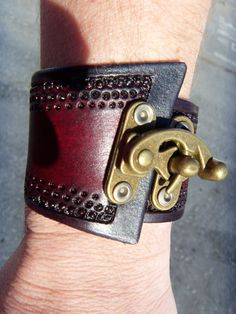 Leather Steam Punk Bracelet Wrist Cuff with by cyclecosmetics (really liking the closure)