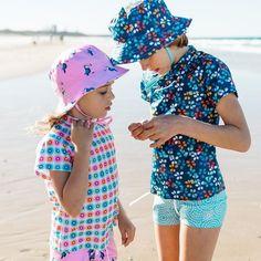 Girls Navy Leaf Short Sleeve Rashie | Sandy Feet Australia