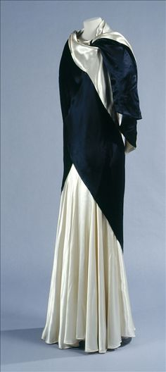 Evening dress and stola,  ivory and black silk satin, ivory silk crepe lining, Callot Soeurs, 1933