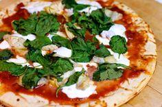Margharita pizza. Tomato basil mozzarella, yes please