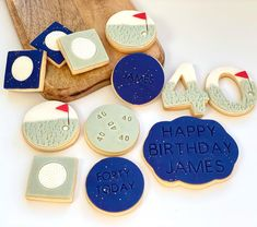 Golf Cookies, Cake Cookies, Golf Theme, Happy 40th Birthday, Themed Cupcakes, Golf Gifts, 3 Things, Biscuits, Desserts