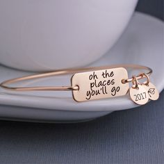 Oh the Places You'll Go Bangle Bracelet, Dr. Suess Bracelet, Graduation Gift – georgie designs personalized jewelry