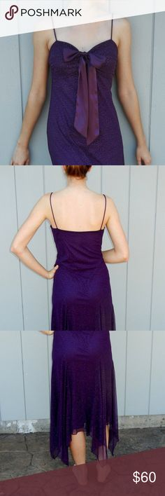 """Sparkly purple dress Spaghetti strap flowy purple dress. Removable sash. Padded bust. Stretchy fabric. Midi length. Worn once. Model is 5'10"""", 125lbs. SL Fashions Dresses Prom"""