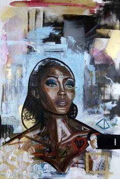 'carbon' 90 x 60cm oil & spray paint on linen canvas