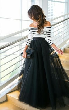 Black Tulle Maxi – Hanh Nguyen , Hair and Makeup – Beauty by Angelina , Skirt – Space 46 Boutique , Top – ASOS , Clutch – Chanel, Shoes – Christian Louboutin